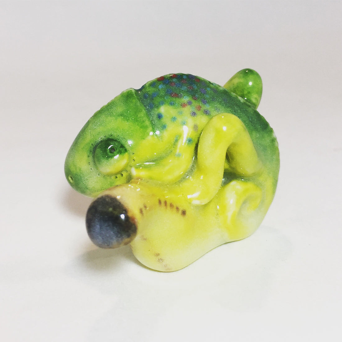 Itty Bitty Chameleon Chillin' on a Banana Spirit Animal OOAK - ShopTheMakers.com
