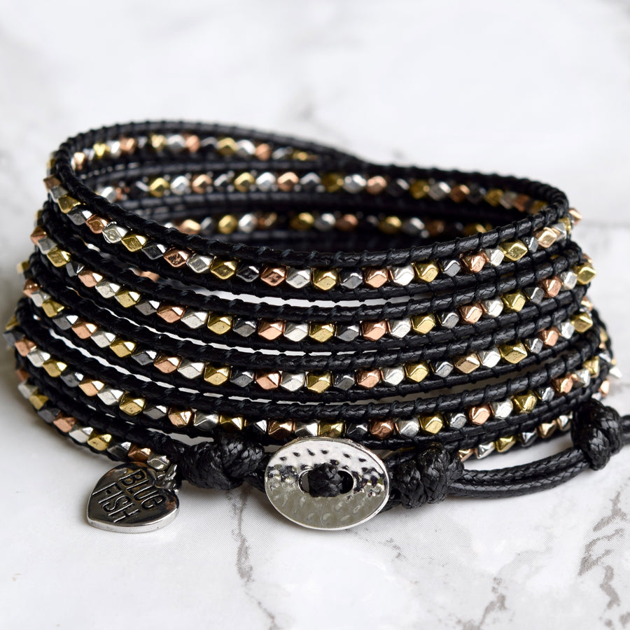 Black & Mixed Metals Vegan Wrap Bracelet - ShopTheMakers.com