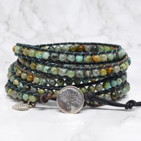 African Turquoise & Sterling Silver Boho Wrap Bracelet - ShopTheMakers.com