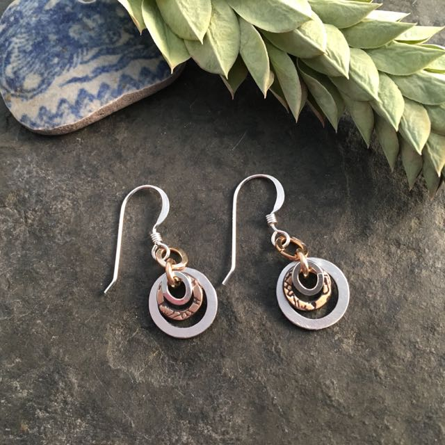 Amrita Mixed Metal Earrings ~ Small - ShopTheMakers.com