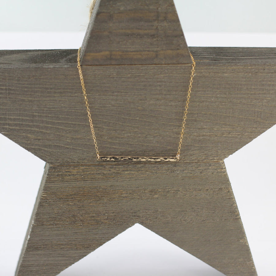 Hammered gold bar necklace - ShopTheMakers.com