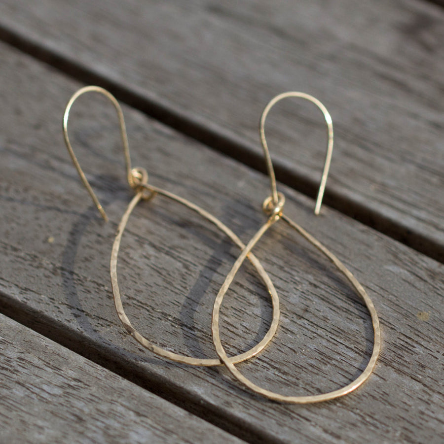 Gold 14k filled hoop earings hammered teardrop - ShopTheMakers.com