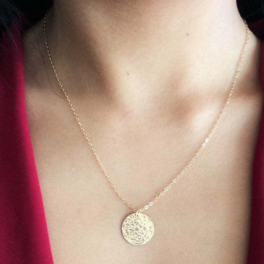 Hammered Disc Necklace - ShopTheMakers.com