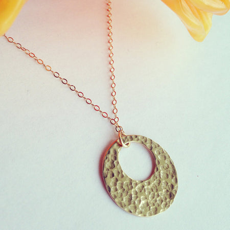Abstract circle necklace 14k gold fill or sterling silver - ShopTheMakers.com