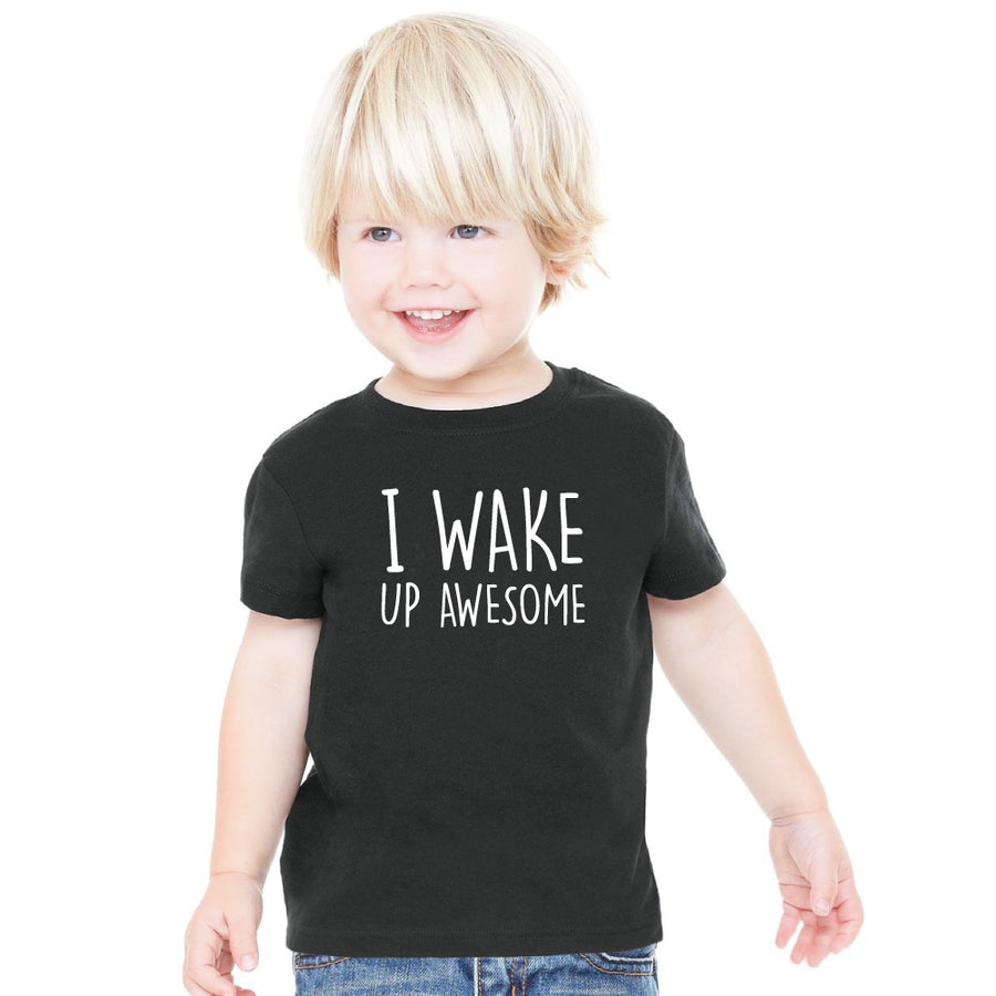 I Wake Up Awesome Fine Jersey Cotton T-Shirt Boy - ShopTheMakers.com