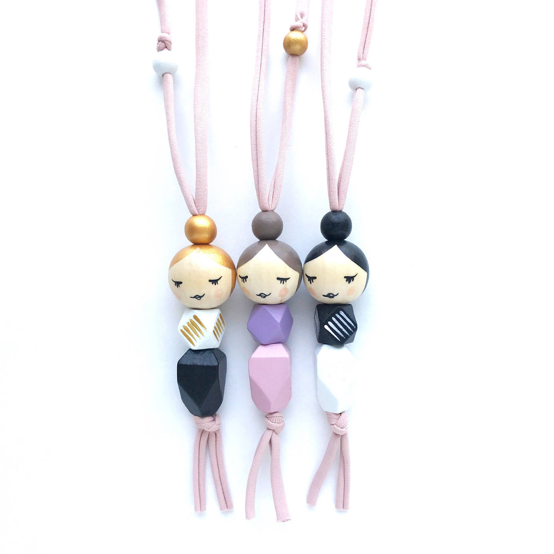 Sleepy Geo Momma Doll Necklace - The Makers