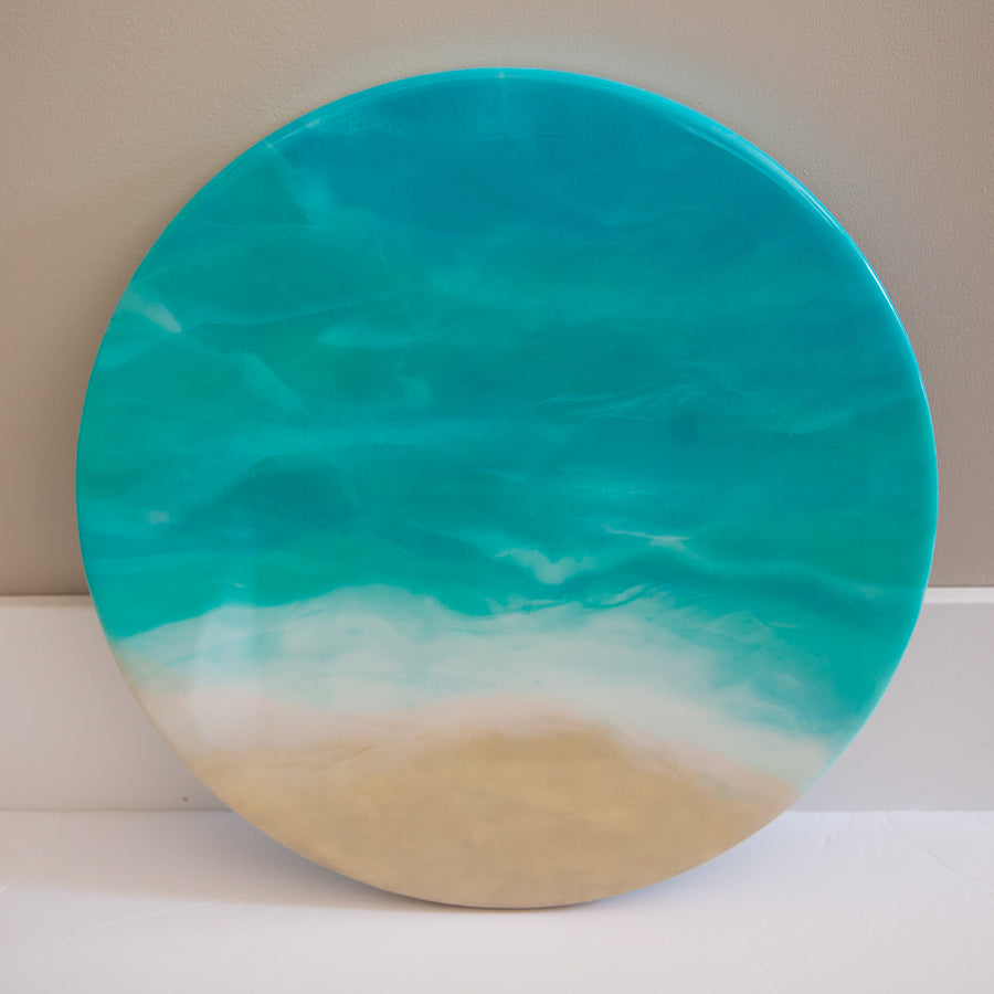 Beach-inspired 14 inch round resin wall art - ShopTheMakers.com