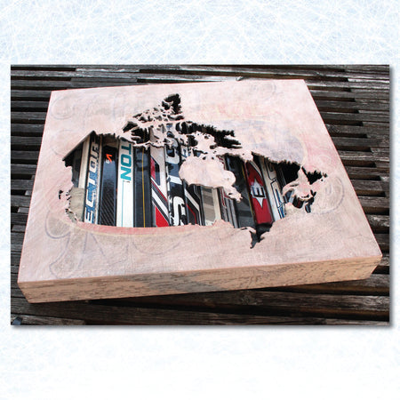 "12"" Canada Map Wall Art. Reclaimed Hockey Stick Shadow Box. - ShopTheMakers.com"