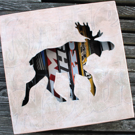 "12"" Moose Wall Art. Reclaimed Hockey Stick Shadow Box with Moose motif. - ShopTheMakers.com"