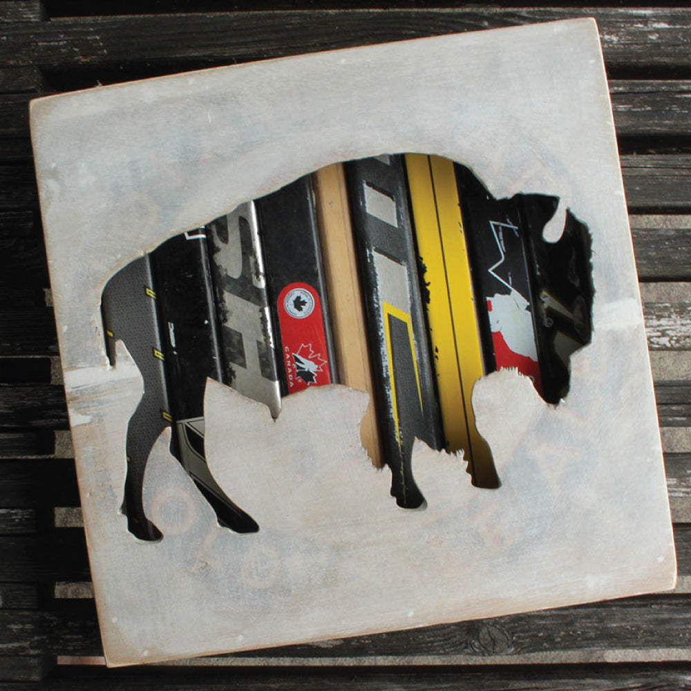 "12"" Bison Wall Art. Reclaimed Hockey Stick Shadow Box with Bison motif. - ShopTheMakers.com"