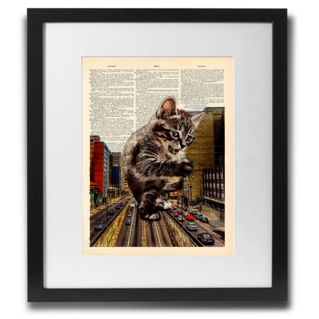Catzilla Art Wall Art Printed On Recycled Vintage Dictionary Page. - ShopTheMakers.com