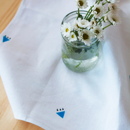 "Lucy Towel - Blue Soft linen tea towel, hand printed with our blue ""Lucy"" design. - ShopTheMakers.com"