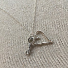 Key and heart sterling silver pendant necklace - ShopTheMakers.com