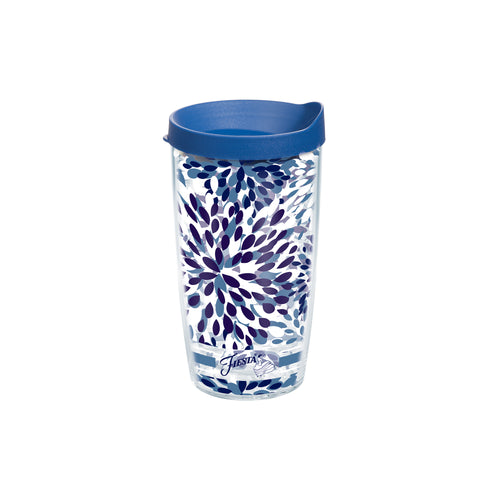 Fiesta® Calypso Lapis 16 oz Tumbler with Blue Lid, Tervis Tumbler - Fiesta Factory Direct by Homer Laughlin China.  Dinnerware proudly made in the USA.
