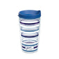Fiesta® Stripes Lapis 16 oz Tumbler with Blue Lid, Tervis Tumbler - Fiesta Factory Direct by Homer Laughlin China.  Dinnerware proudly made in the USA.