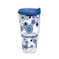 Fiesta® Dots Lapis 24 oz Tumbler with Blue Lid, Tervis Tumbler - Fiesta Factory Direct by Homer Laughlin China.  Dinnerware proudly made in the USA.