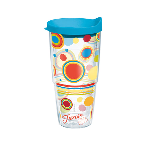 Fiesta® Dots Poppy 24 oz Tumbler with Turquoise Lid