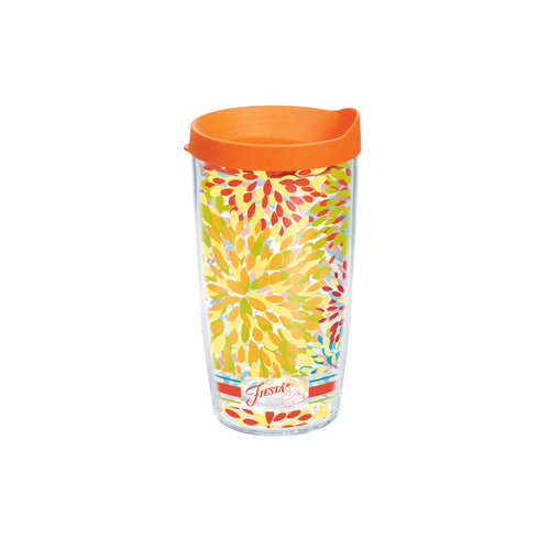 Fiesta® Calypso Poppy 16 oz Tumbler with Orange Lid, Tervis Tumbler - Fiesta Factory Direct by Homer Laughlin China.  Dinnerware proudly made in the USA.
