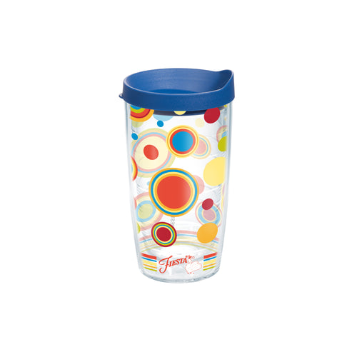 Fiesta® Dots Poppy 16 oz Tumbler with Blue Lid, Tervis Tumbler - Fiesta Factory Direct by Homer Laughlin China.  Dinnerware proudly made in the USA.
