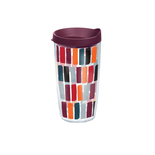 Fiesta® Dashes Harvest 16 oz Tumbler with Maroon Lid