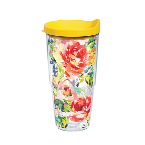 Fiesta® Floral Bouquet 24 oz Tumbler with Yellow Lid, Tervis Tumbler - Fiesta Factory Direct by Homer Laughlin China.  Dinnerware proudly made in the USA.