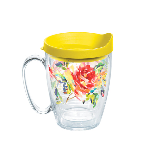 Fiesta® Floral Bouquet Mug with Yellow Lid, Tervis Tumbler - Fiesta Factory Direct by Homer Laughlin China.  Dinnerware proudly made in the USA.