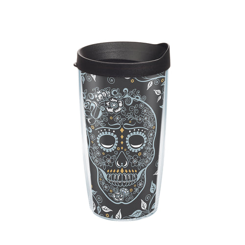 Fiesta® Skull and Vine 16 oz Tumbler with Black Lid, Tervis Tumbler - Fiesta Factory Direct by Homer Laughlin China.  Dinnerware proudly made in the USA.
