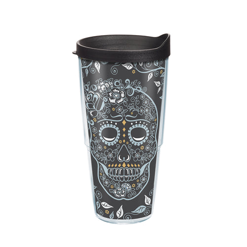 Fiesta® Skull and Vine 24 oz Tumbler with Black Lid, Tervis Tumbler - Fiesta Factory Direct by Homer Laughlin China.  Dinnerware proudly made in the USA.