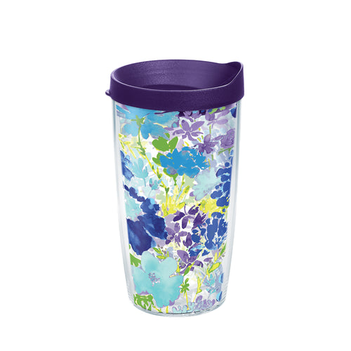 Fiesta® Purple Floral 16 oz Tumbler with Purple Lid, Tervis Tumbler - Fiesta Factory Direct by Homer Laughlin China.  Dinnerware proudly made in the USA.