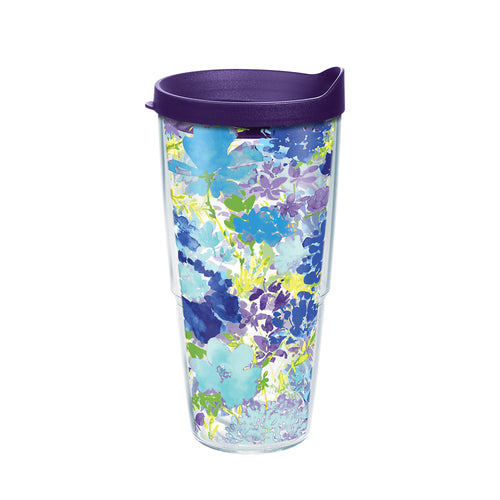 Fiesta® Purple Floral 24 oz Tumbler with Purple Lid, Tervis Tumbler - Fiesta Factory Direct by Homer Laughlin China.  Dinnerware proudly made in the USA.