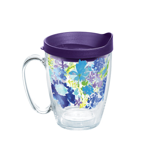 Fiesta® Purple Floral Mug with Purple Lid, Tervis Tumbler - Fiesta Factory Direct by Homer Laughlin China.  Dinnerware proudly made in the USA.