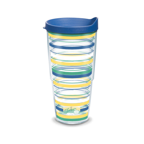 Fiesta® Stripes Floral 16 oz Tumbler with Lid