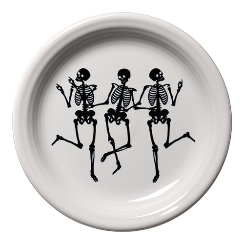 Trio of Skeletons Appetizer Plate, fiesta® halloween - Fiesta Factory Direct by Homer Laughlin China.  Dinnerware proudly made in the USA.