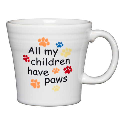 All My Children Have Paws Tapered Mug, fiesta® Pet Ware - Fiesta Factory Direct by Homer Laughlin China.  Dinnerware proudly made in the USA.