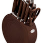 Fiesta® 11 Piece Cutlery Set with Block - Chocolate