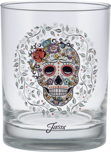 14 oz. Fiesta®SKULL AND VINE Sugar Double Old Fashion Glass - Set of 4, Glassware - Fiesta Factory Direct by Homer Laughlin China.  Dinnerware proudly made in the USA.