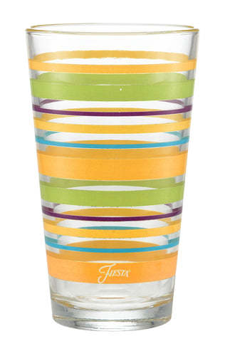 16 oz. Fiesta® Caribbean Sunset Stripes Cooler – Set of 4, Glassware - Fiesta Factory Direct by Homer Laughlin China.  Dinnerware proudly made in the USA.