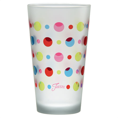 16 oz. Fiesta® Dots Frosted Cooler – Set of 4, Glassware - Fiesta Factory Direct by Homer Laughlin China.  Dinnerware proudly made in the USA.