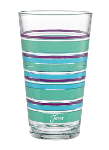 16 oz. Fiesta® Farmhouse Chic Stripes Cooler – Set of 4, Glassware - Fiesta Factory Direct by Homer Laughlin China.  Dinnerware proudly made in the USA.