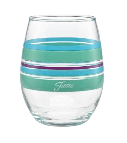 15 oz. Fiesta® Farmhouse Chic Stripes Stemless Wine – Set of 4, Glassware - Fiesta Factory Direct by Homer Laughlin China.  Dinnerware proudly made in the USA.
