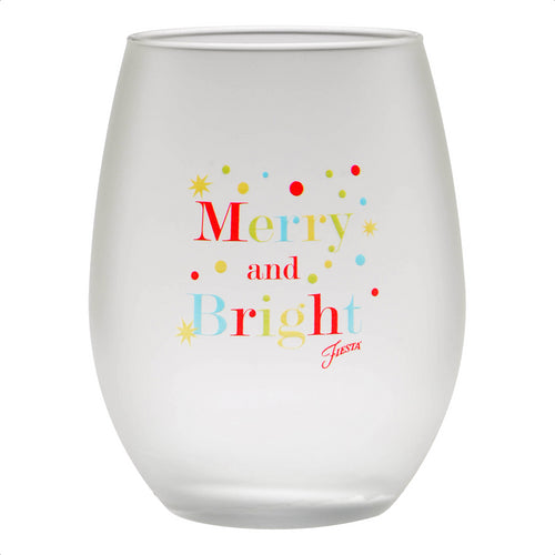 15 oz. Fiesta® Merry & Bright Frosted Stemless Wine – Set of 4, Glassware - Fiesta Factory Direct by Homer Laughlin China.  Dinnerware proudly made in the USA.