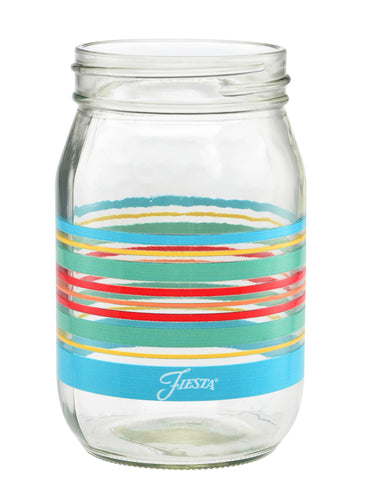 14 oz. Fiesta® Rainbow Radiance Stripes Jar – Set of 4, Glassware - Fiesta Factory Direct by Homer Laughlin China.  Dinnerware proudly made in the USA.