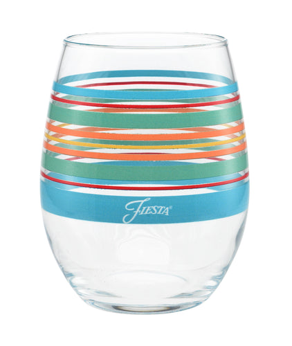 15 oz. Fiesta® Rainbow Radiance Stripes Stemless Wine – Set of 4, Glassware - Fiesta Factory Direct by Homer Laughlin China.  Dinnerware proudly made in the USA.