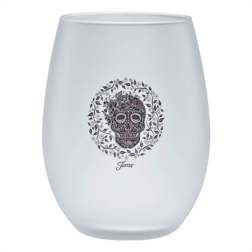 15 oz. Fiesta® SKULL AND VINE Frosted Stemless Wine – Set of 4, Glassware - Fiesta Factory Direct by Homer Laughlin China.  Dinnerware proudly made in the USA.