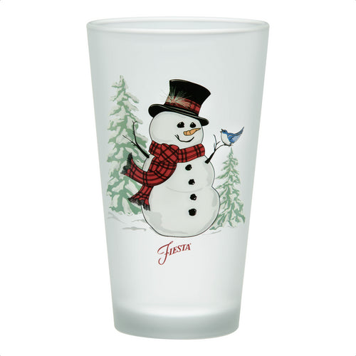 16 oz. Fiesta® Snowman Frosted Cooler - Set of 4, Glassware - Fiesta Factory Direct by Homer Laughlin China.  Dinnerware proudly made in the USA.
