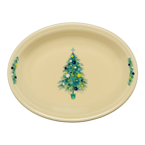 Blue Christmas Tree Medium Oval Platter, fiesta® blue Christmas Tree - Fiesta Factory Direct by Homer Laughlin China.  Dinnerware proudly made in the USA.