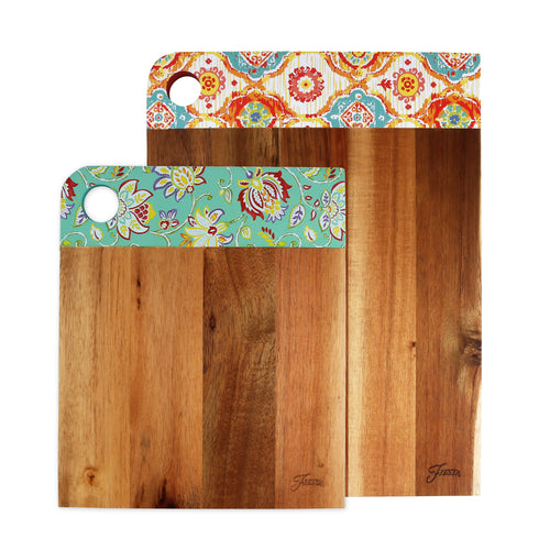 Fiesta® 2 piece Acacia Wood Patterned Cutting Board Set, Cutlery - Fiesta Factory Direct by Homer Laughlin China.  Dinnerware proudly made in the USA.