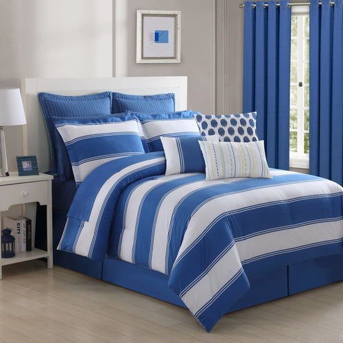Cabana Stripe Lapis Reversible Comforter Set, Bedding - Fiesta Factory Direct by Homer Laughlin China.  Dinnerware proudly made in the USA.