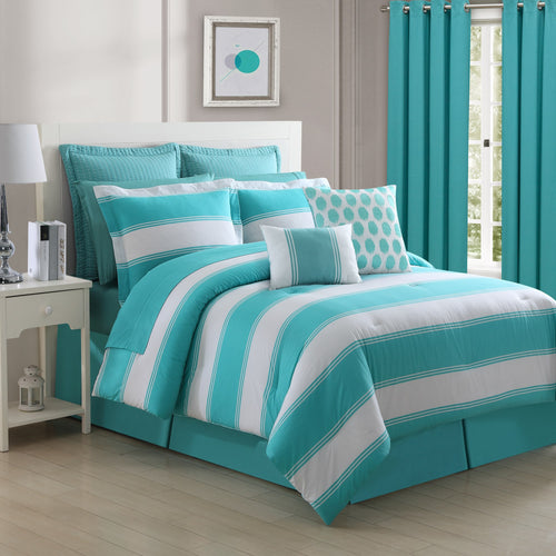 Cabana Stripe Turquoise Reversible Comforter Set, Bedding - Fiesta Factory Direct by Homer Laughlin China.  Dinnerware proudly made in the USA.