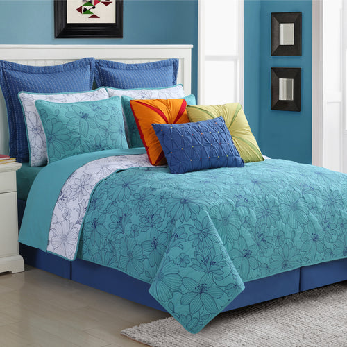 Martika Quilt Set Turquoise - Fiesta Factory Direct